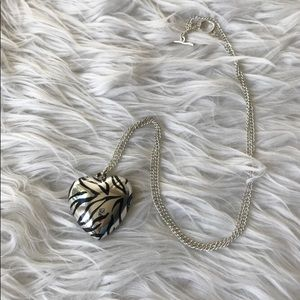 Zebra Print Metallic Heart Necklace